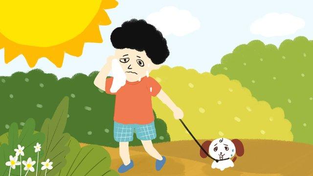 ハイエナウォークパーク新鮮なイラストを拭く高温警告太陽の少年 イラストレーション画像