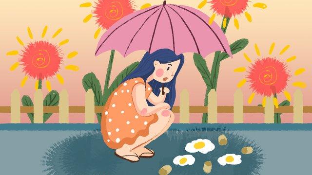 夏の高温警告フラワーガールの図 イラスト素材 イラスト画像