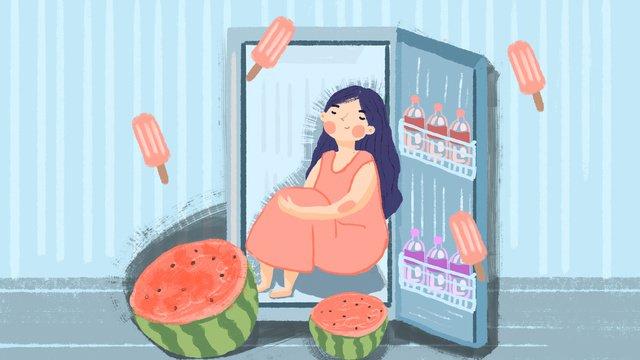高温警告夏冷蔵庫イラスト絵 イラスト素材 イラスト画像
