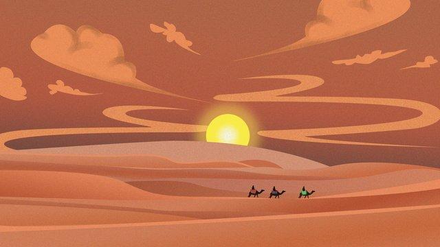 熱い砂漠のラクダと旅行者の高温警告 イラスト素材 イラスト画像