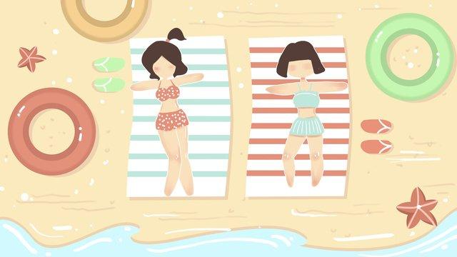 高温警告暑い夏の海辺の少女フラットスタイル イラスト素材 イラスト画像