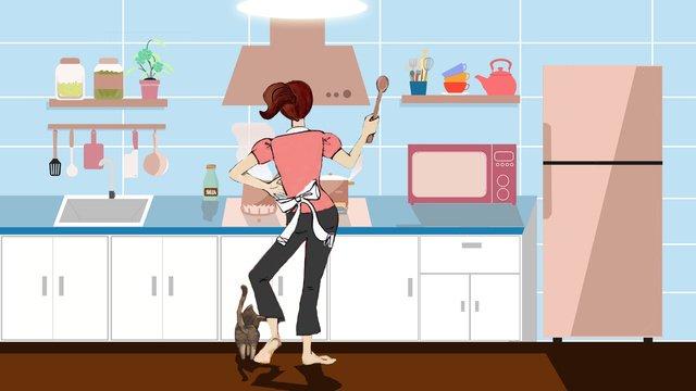 ホームリビングキッチンクッキングガールマザーイラストレーション イラスト素材
