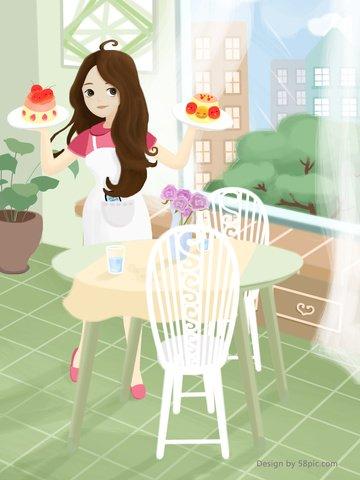 original illustration home girl daily poster llustration image