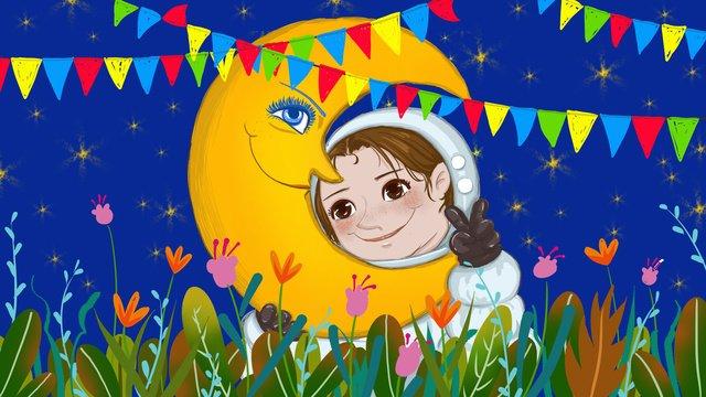 人間の月の日の宇宙飛行士と月の癒しのシステム図 イラスト素材