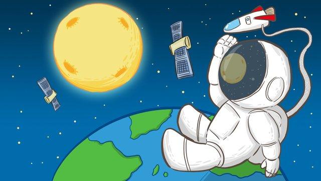 月の手描きのオリジナルイラストを見て人間の月の日の宇宙飛行士 イラスト素材 イラスト画像