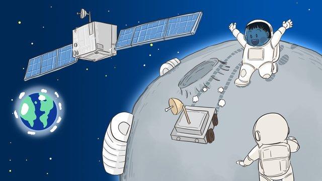 人間の月の月に宇宙飛行士手描きのオリジナルイラスト イラスト素材