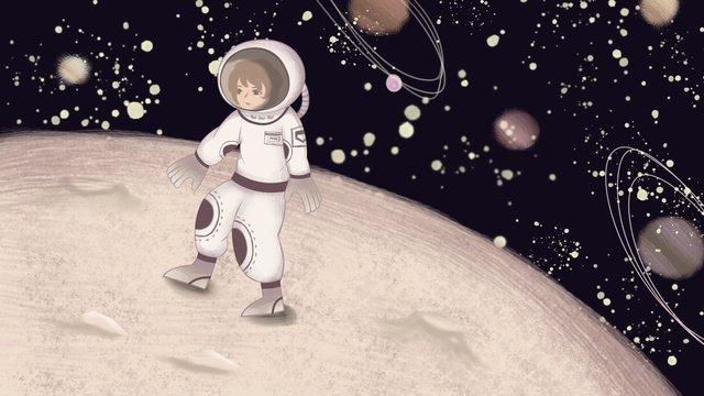 手描きの人間の月面着陸スペース旅行イラストポスター イラスト素材