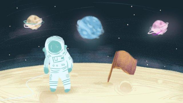 人間の月の日スペース宇宙飛行士手描きイラストポスター背景壁紙 イラスト素材 イラスト画像