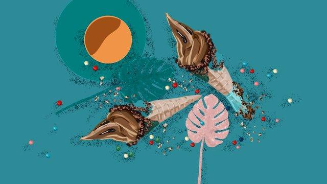 Конус мороженого цвет конфеты монстера оставляет небольшой свежий рисунок Ресурсы иллюстрации