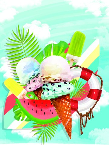 summer hello original ice cream illustration illustration image
