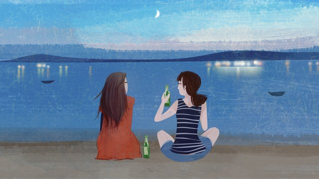Girl drinking beer on the beach by sea in evening, Icy Summer, Summer Is Cool, Cool Summer illustration image