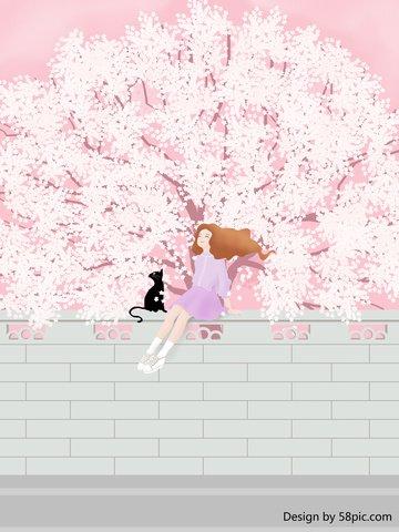 original illustration romantic cherry blossom travel wall girl llustration image illustration image