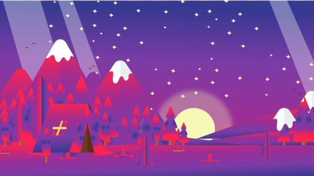 Beautiful starry forest healing gradient style illustration, Illustration, Gradient, Landscape illustration image