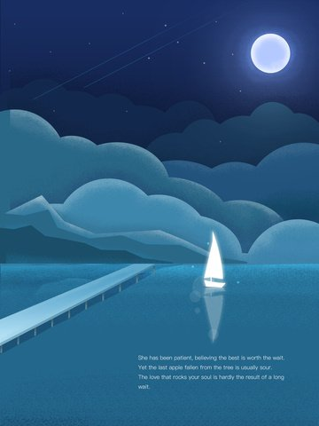sailboat landscape illustration under dark blue moonlight illustration image