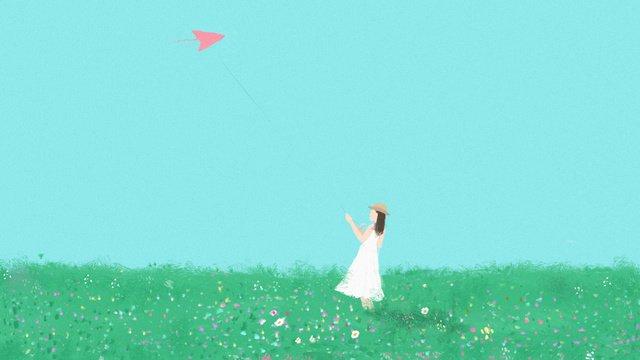little girl with kite flying fresh original illustration llustration image