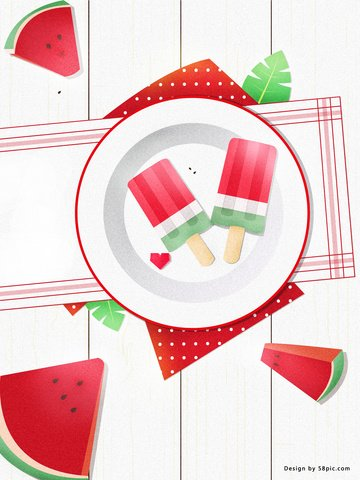 Illustration wind red creative summer sense small fresh vector style watermelon popsicle, Illustration, No Public, Circle Of Friends illustration image
