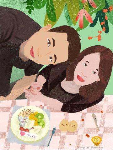 情侶日常生日快樂原創人物大頭照插畫 插畫素材 插畫圖片