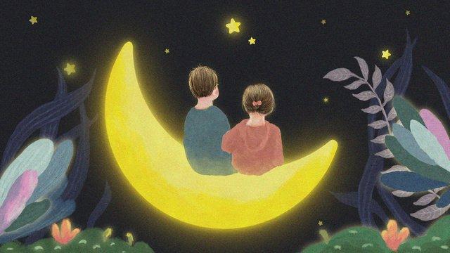 Good night moon illustration, Illustration, Painting, Poster illustration image