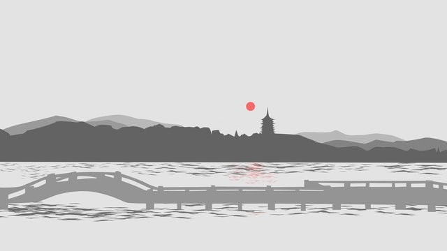 Impression city - hangzhou original illustration, Impression, City, Hangzhou illustration image