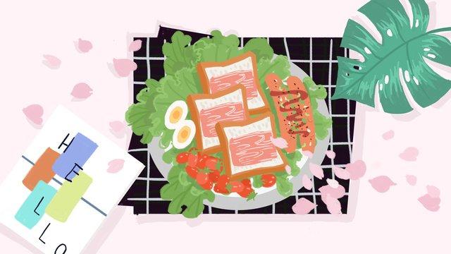 小さな新鮮な手描きのins風の朝食 イラストレーション画像 イラスト画像