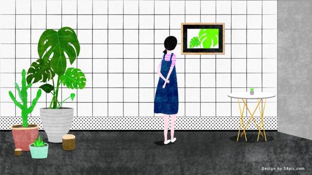 insスタイルの小新鮮な女の子緑植店のイラスト イラストレーション画像 イラスト画像