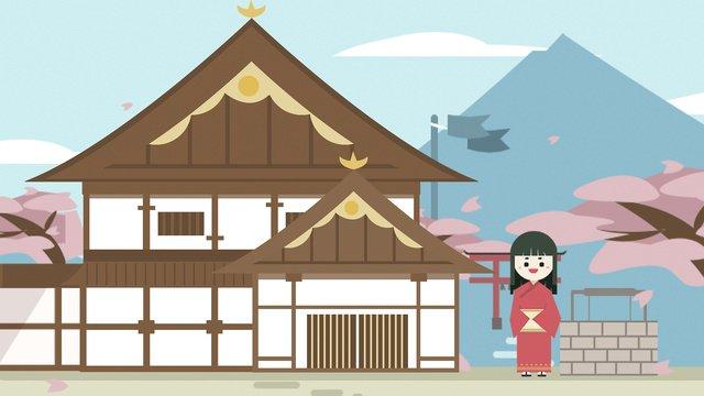 Япония путешествия здание свобода линии иллюстрации кимоно рисованной плакат Ресурсы иллюстрации