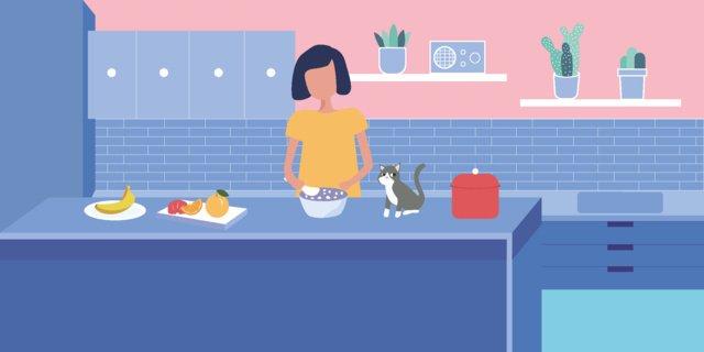kitchen cooking girl illustration llustration image illustration image