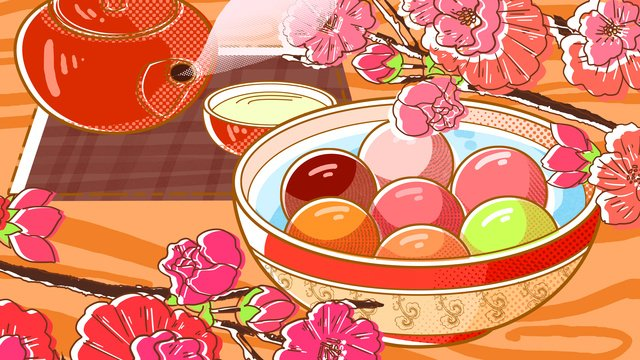 Lantern festival food fighting pope wind illustrator, Lantern Festival, Tangyuan Festival, Yuan Zhen illustration image