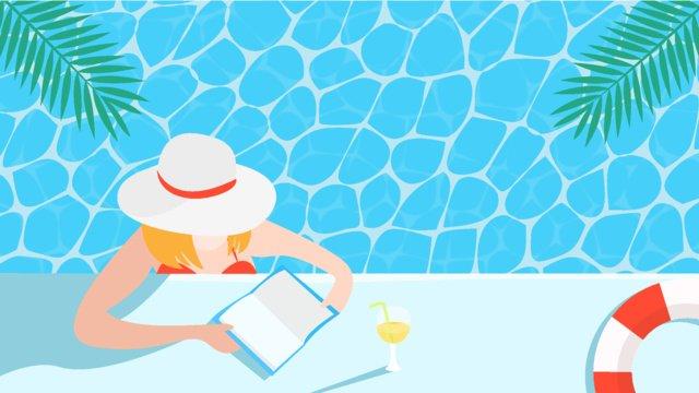 プールサイドで本を読んでいる女の子 イラスト素材