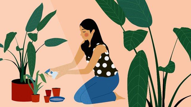 元の家庭生活少女の植物イラスト イラスト素材