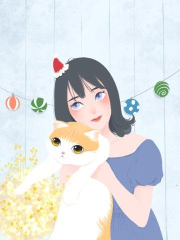 cô gái tươi cầm mèo minh họa Hình minh họa