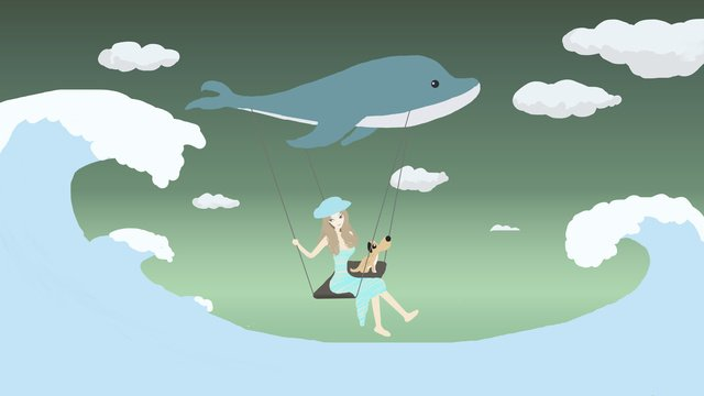 Original small fresh cure illustration travel girl with whale, Little Fresh Girl, Travel, Sea And Whale illustration image