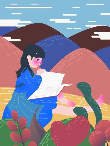 Little girl original cartoon illustration sitting on the hillside reading a book illustration image