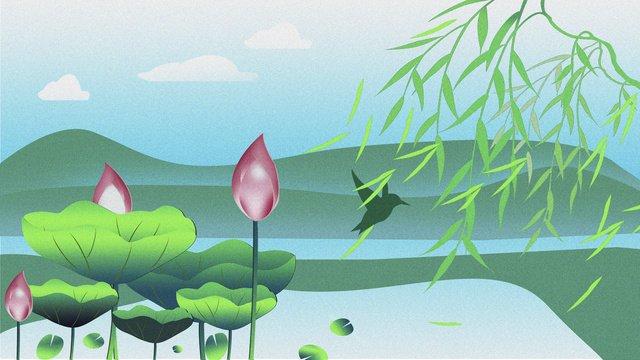處暑荷花季池塘插畫 插畫素材