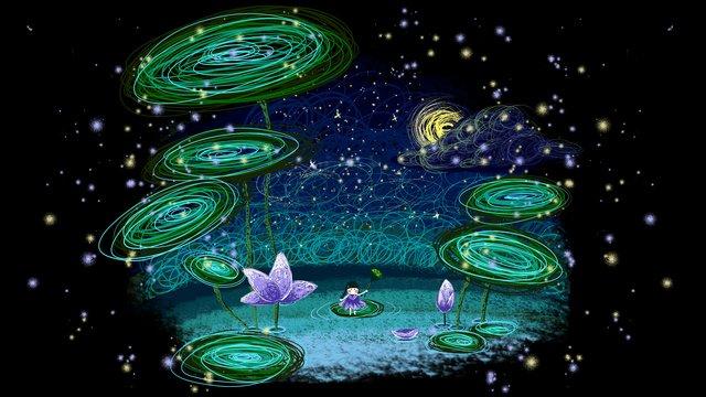 Hand drawn coil lotus healing illustration, Lotus Season, Lotus Leaf, Childrens Illustration illustration image