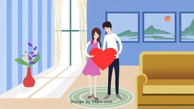 qixi festival couple romantic home simple love llustration image illustration image