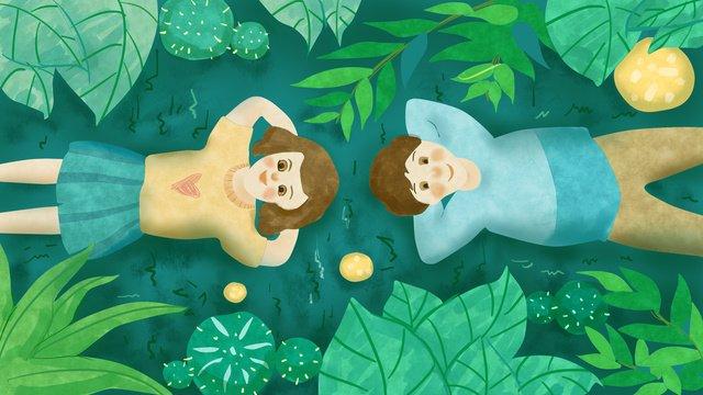 七夕の夜のカップル見て新鮮な緑の緑 イラストレーション画像