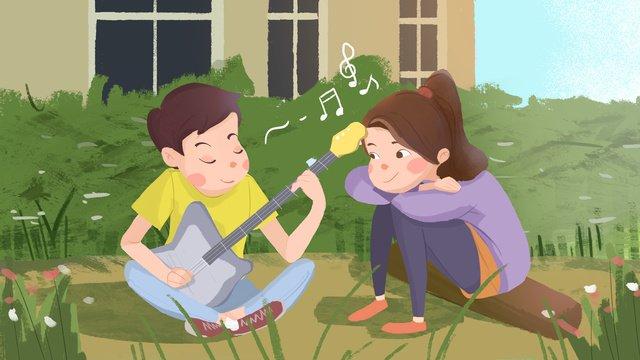七夕甘い愛カップル公園でギターを弾くのが大好き イラスト素材