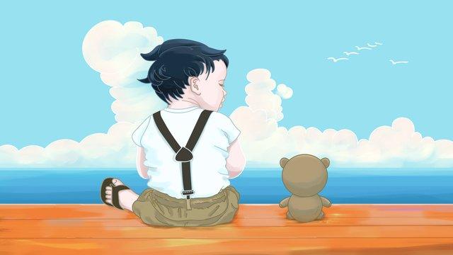ký ức tuổi thơ với những món đồ chơi bên bờ biển bầu trời mây phẳng Hình minh họa