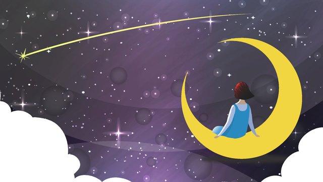 Hand Drawn Starry Sky Moon Trip Meteor Moon Child