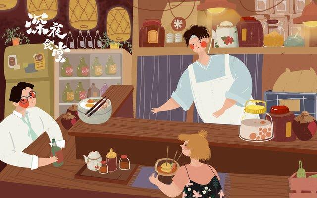 Поздно ночью кафетерий японский творческий рисунок милый маленький свежий стиль оригинальные работы Ресурсы иллюстрации Иллюстрация изображения