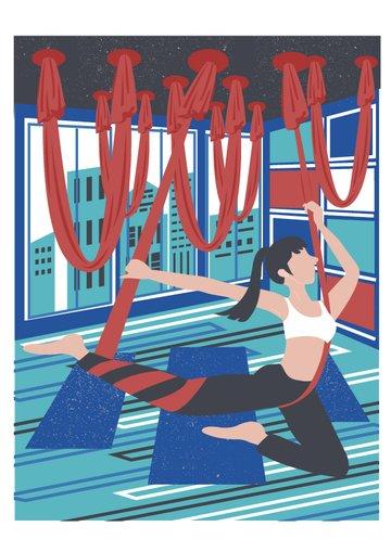 중세 빈티지 텍스처 요가 공중 춤 그림을 연습하는 현대 소녀 삽화 소재