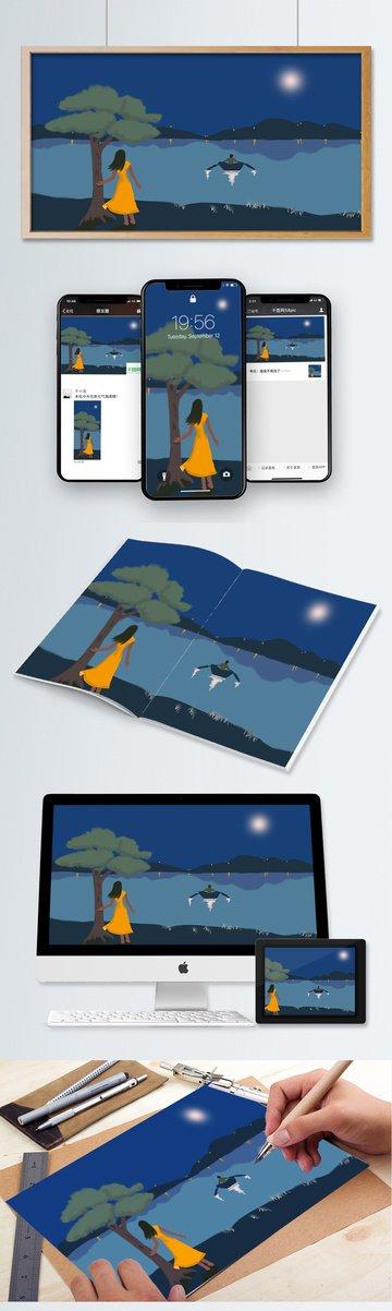 한여름 밤 달빛 소녀 소년 삽화 소재