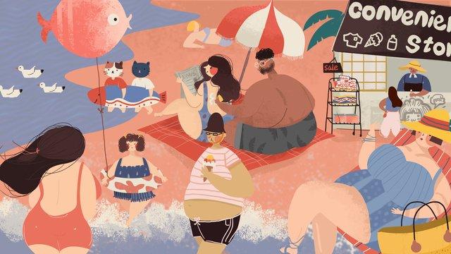 summer surf beach лето иллюстрация Ресурсы иллюстрации