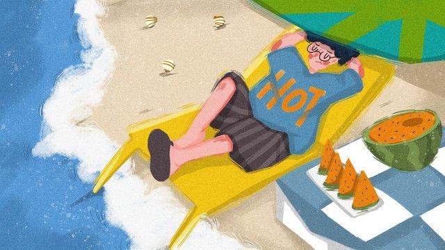 盛夏夏日海灘海邊西瓜度假原創色彩手繪插畫盛夏  夏日  海灘PNG和PSD圖片素材 illustration image