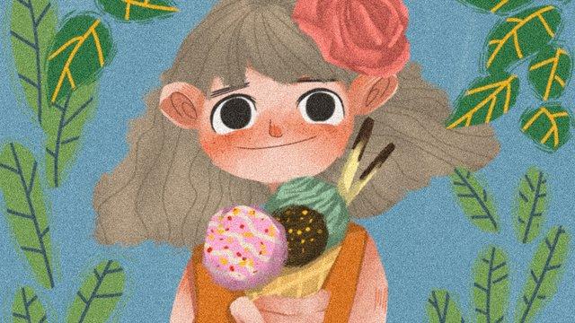 Summer little girl ice cream green plant original hand-painted illustration, Midsummer, Summer, Little Girl illustration image