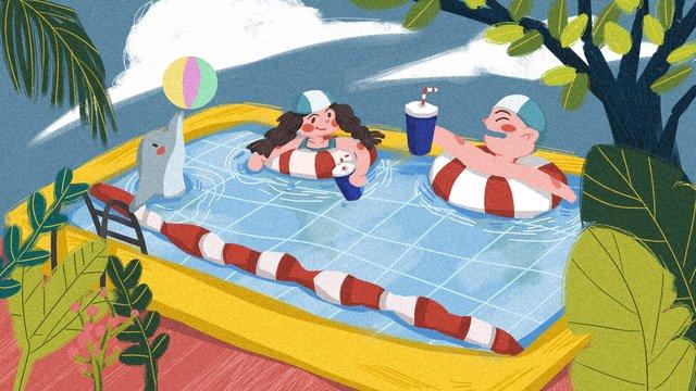 盛夏夏天游泳植物海豚可樂白雲原創手繪插畫盛夏  夏天  游泳池PNG和PSD圖片素材 illustration image