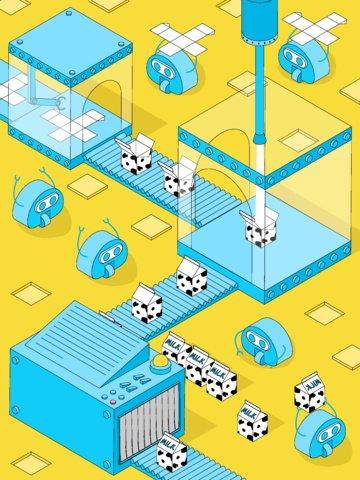 Milk factory 2.5d vector illustration robot small fresh yellow blue, Milk, Factory, 2.5d illustration image