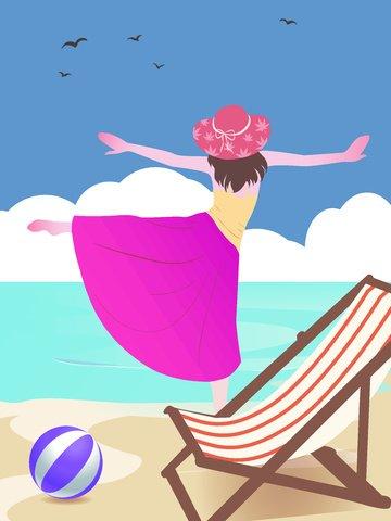 简约风海边的女孩原创旅游插画人物插画  夏天  夏日旅游PNG和矢量 插图图像