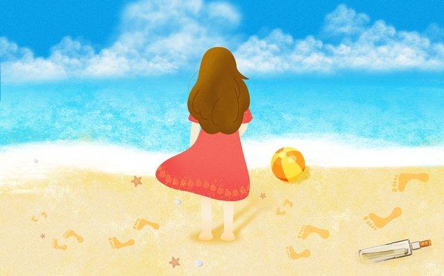 어린 소녀 다시보기 해변 레저 여름 장면 파란색 배경 삽화 소재